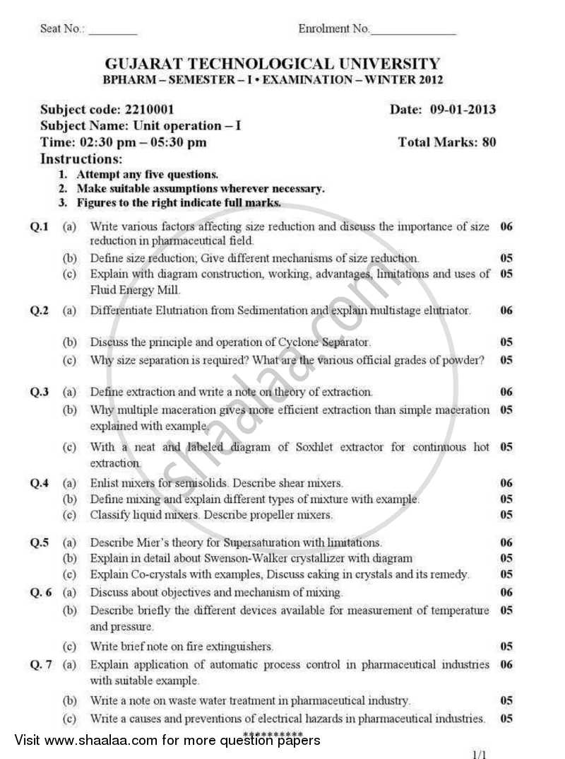 Question Paper - Unit Operations 1 2012 - 2013 - B.Pharm. - Semester 1 - Gujarat Technological University (GTU)