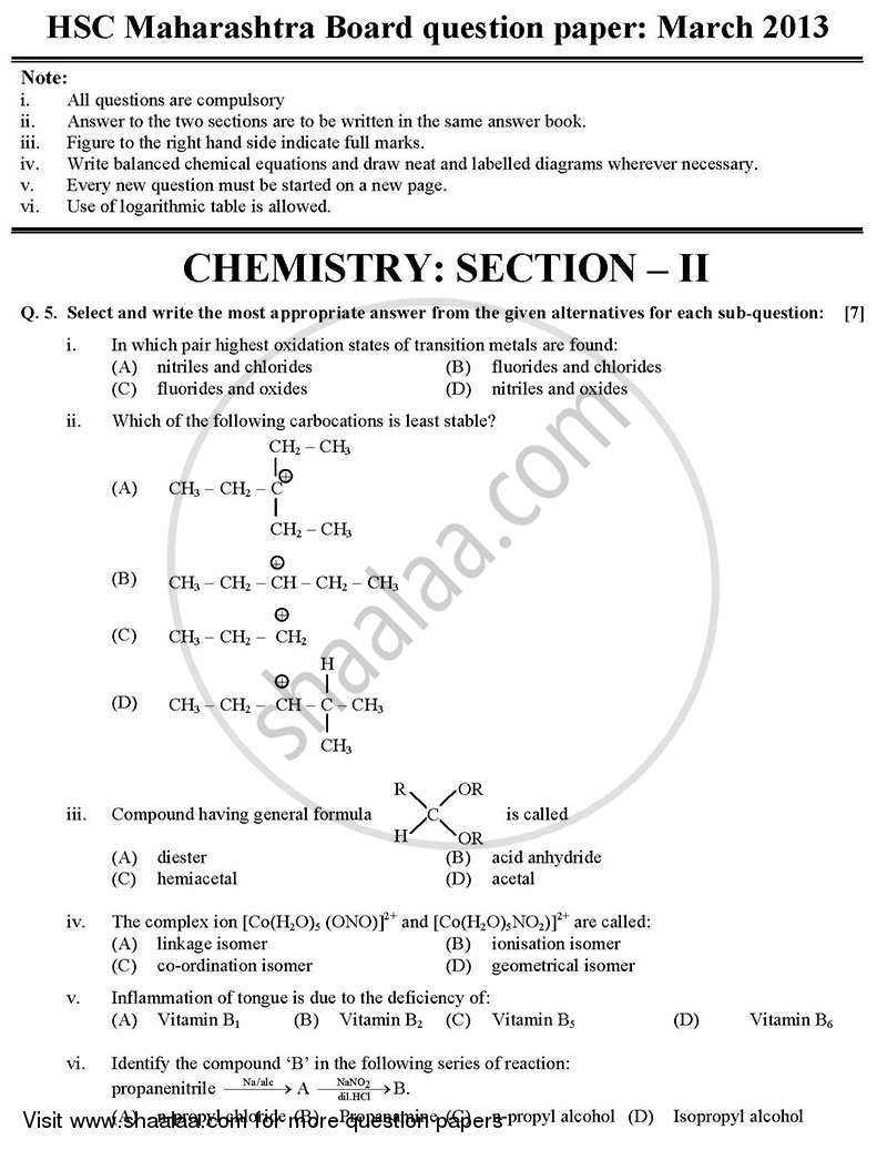 Chemistry 2 2012-2013 - H.S.C - 12th Board Exam - Maharashtra State Board (MSBSHSE) question paper with PDF download