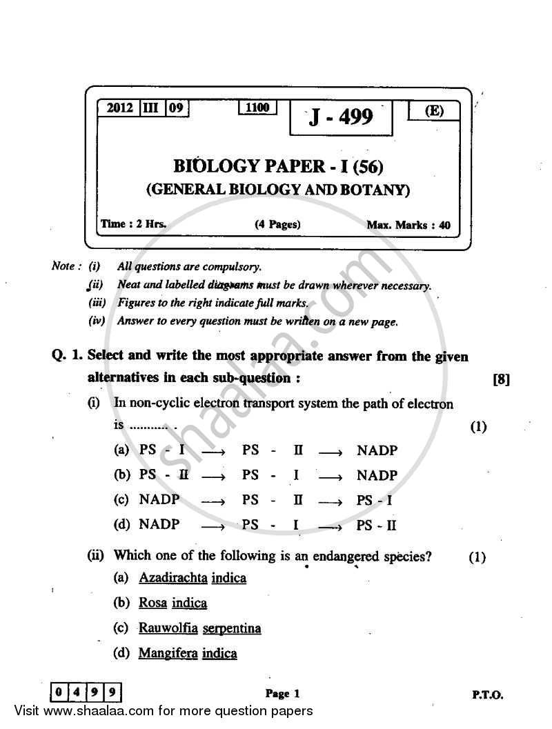 Question Paper - Biology 1 2011 - 2012 - H.S.C - 12th Board Exam - Maharashtra State Board (MSBSHSE)