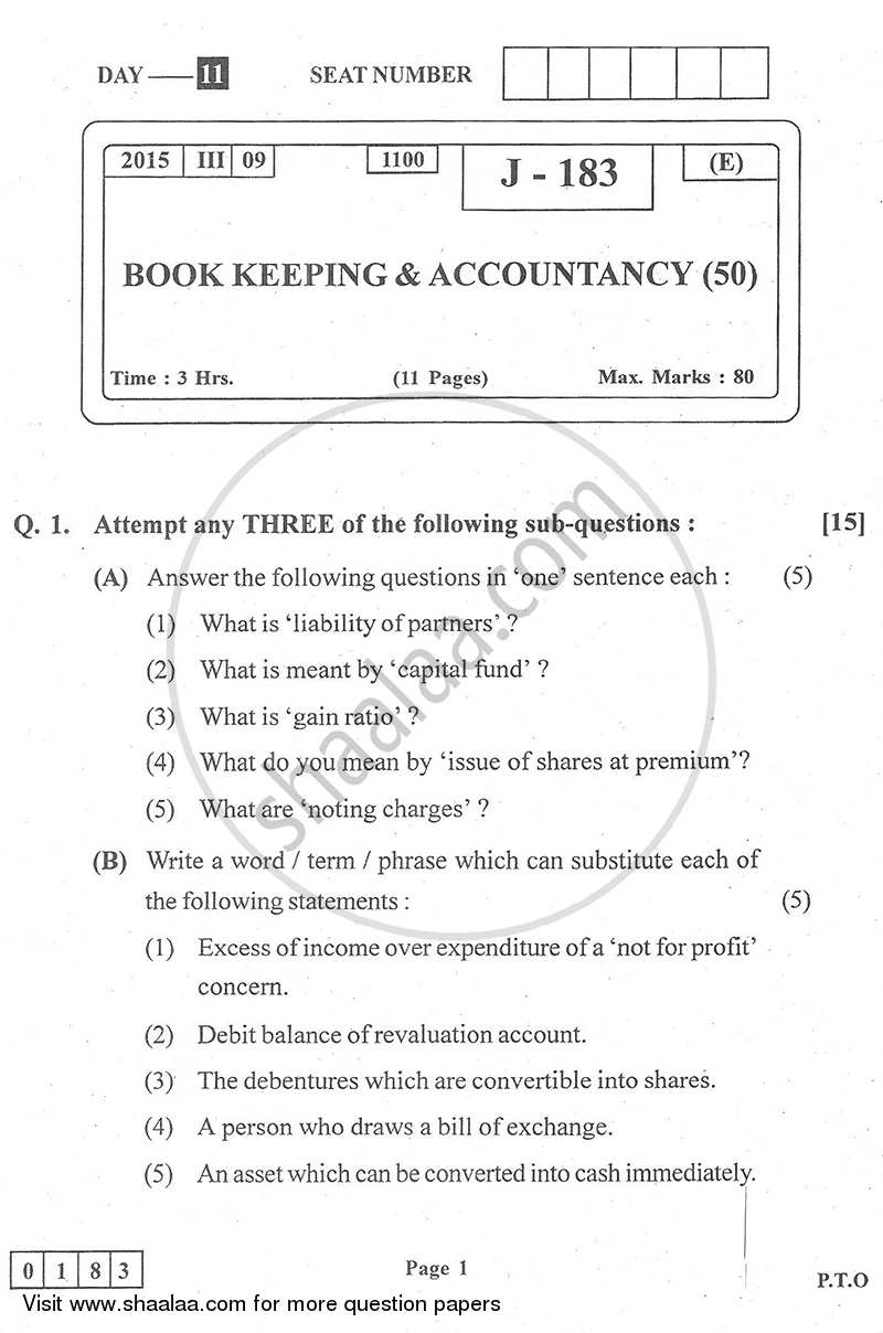 Question Paper - Book Keeping and Accountancy 2014 - 2015 - H.S.C - 12th Board Exam - Maharashtra State Board (MSBSHSE)