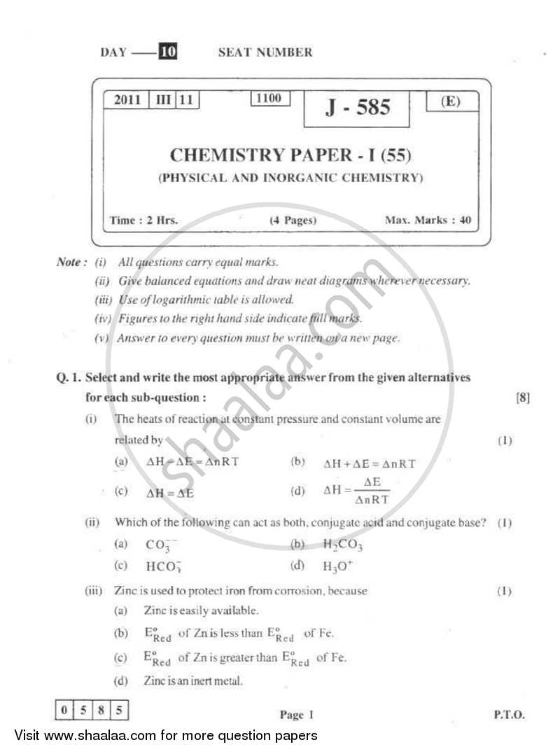 Chemistry 1 2010-2011 - H.S.C - 12th Board Exam - Maharashtra State Board (MSBSHSE) question paper with PDF download