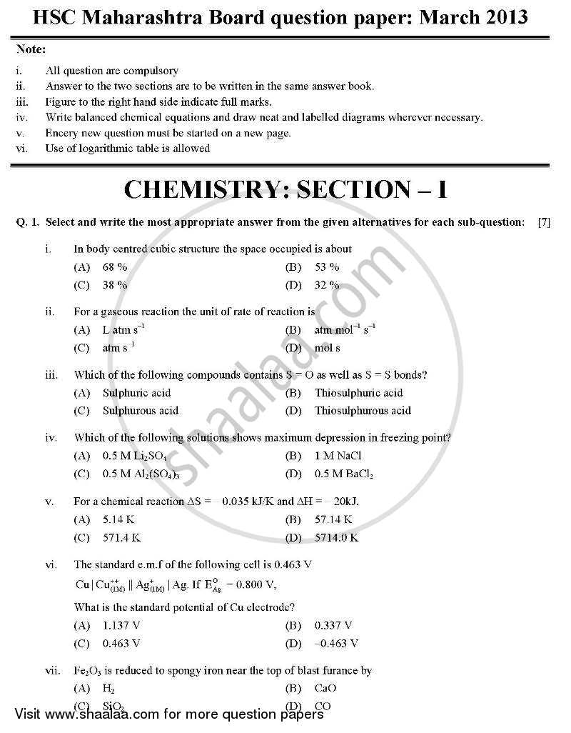 Chemistry 1 2012-2013 HSC Science (General) 12th Board Exam question