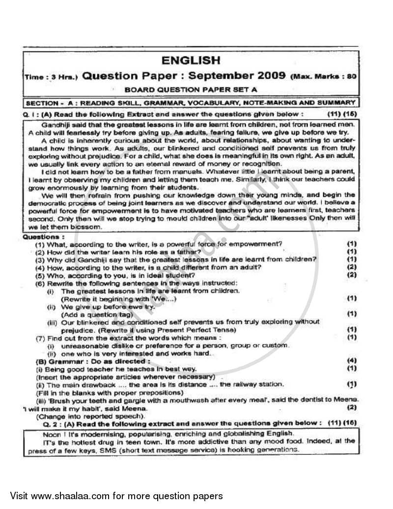 Question Paper - English 2009 - 2010 - H.S.C - 12th Board Exam - Maharashtra State Board (MSBSHSE)