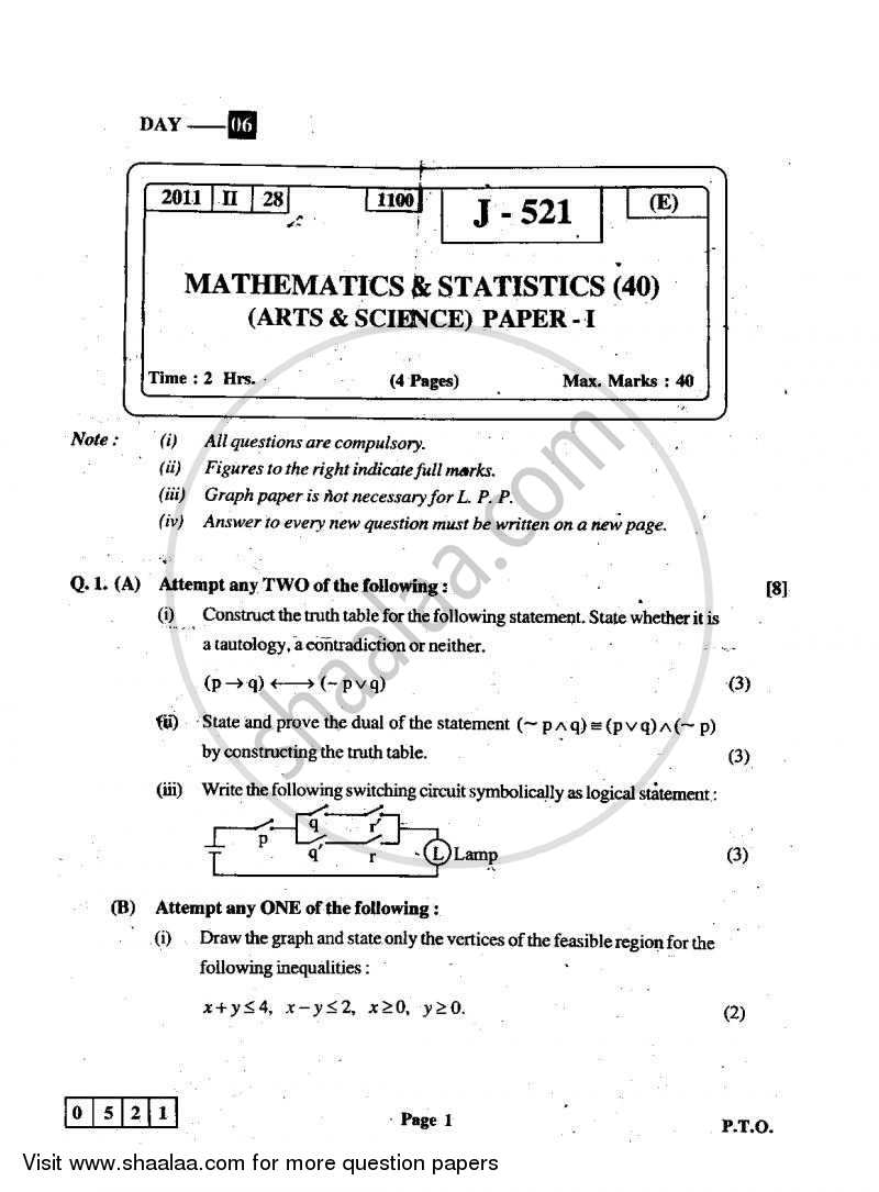 Question Paper - Mathematics and Statistics 1 2010 - 2011 - H.S.C - 12th Board Exam - Maharashtra State Board (MSBSHSE)