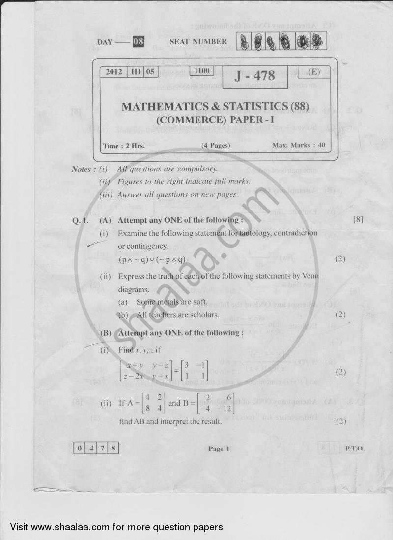 Question Paper - Mathematics and Statistics 1 2011 - 2012 - H.S.C - 12th Board Exam - Maharashtra State Board (MSBSHSE)