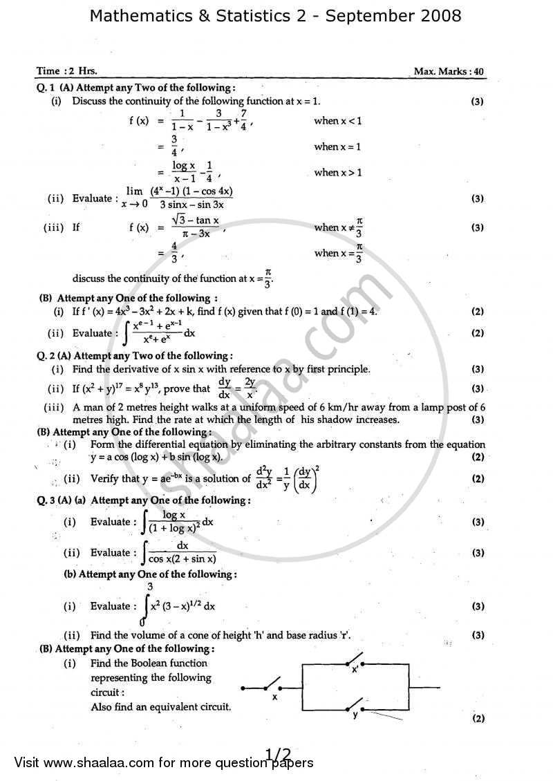 Question Paper - Mathematics and Statistics 2 2008 - 2009 - H.S.C - 12th Board Exam - Maharashtra State Board (MSBSHSE)