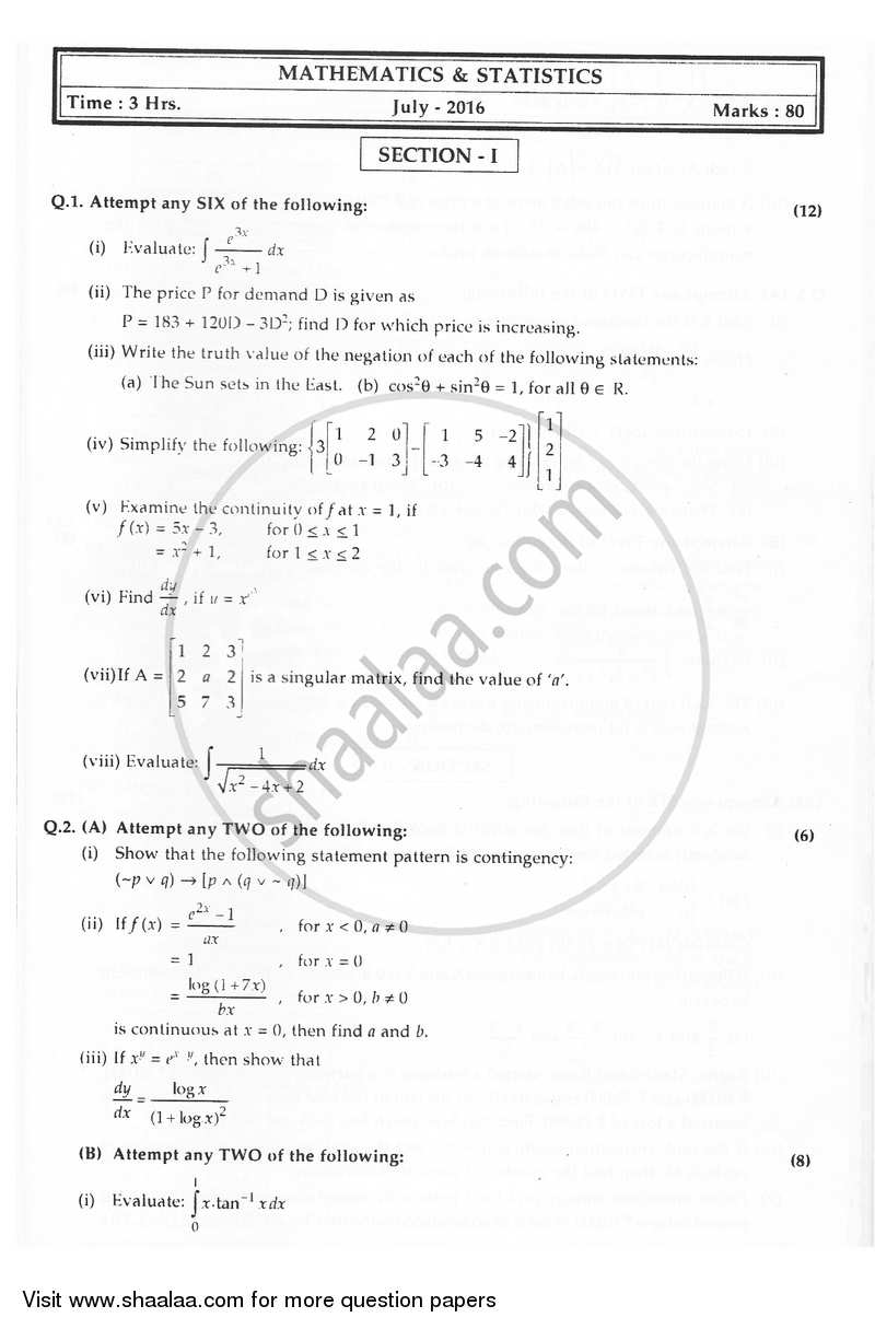 Question Paper - Mathematics and Statistics 2015-2016 - H.S.C - 12th Board Exam - Maharashtra State Board (MSBSHSE) with PDF download