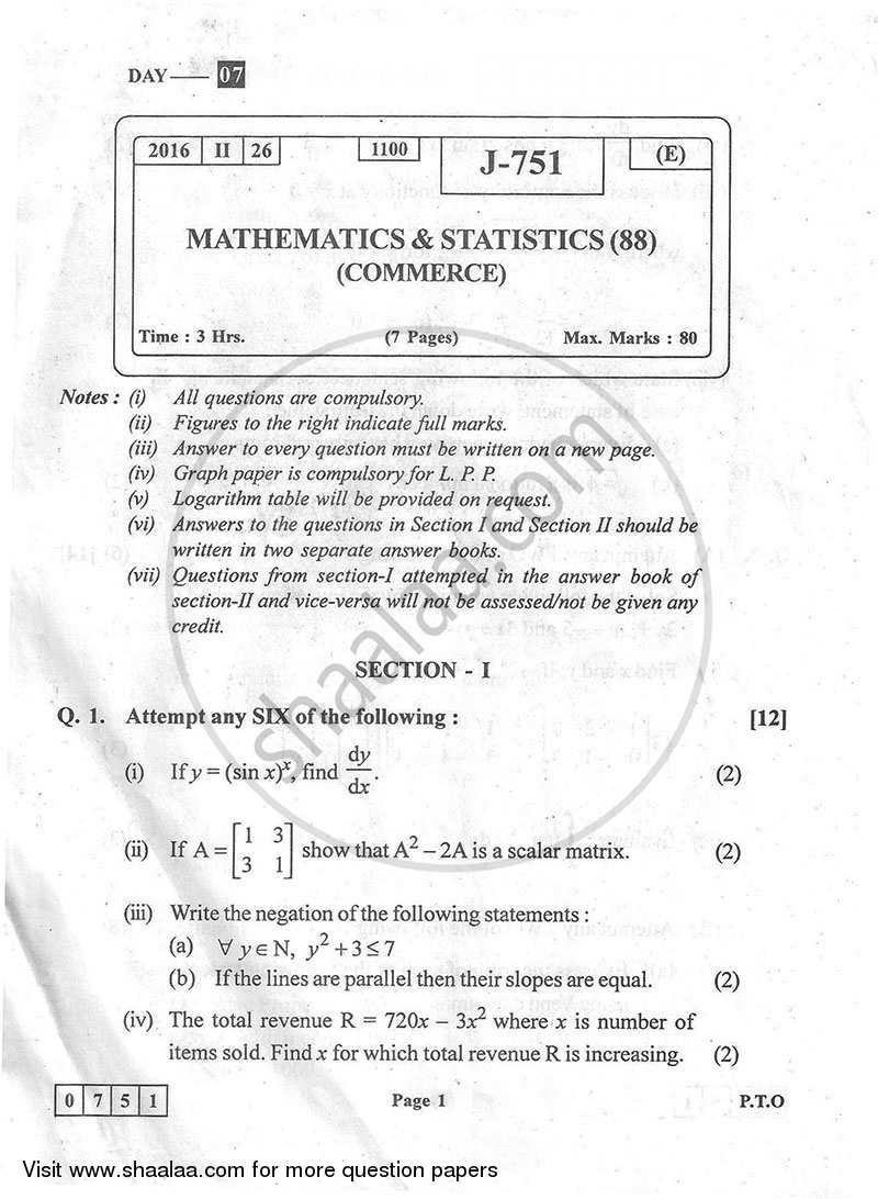 Mathematics and Statistics 2015-2016 HSC Commerce (Marketing and