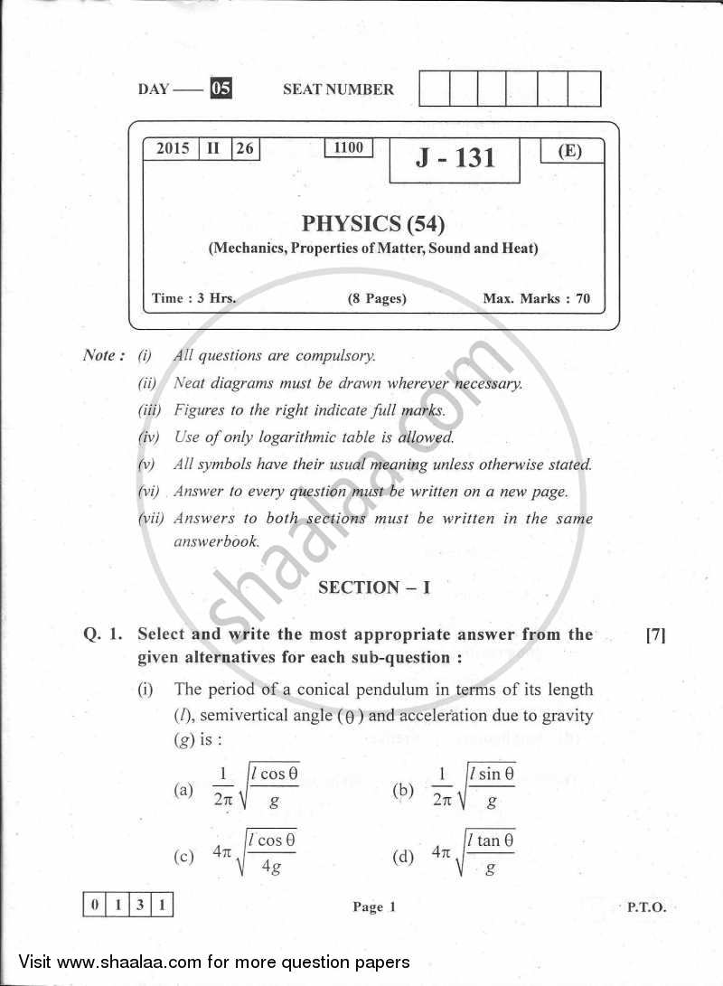Question Paper - Physics 2014-2015 - H.S.C - 12th Board Exam - Maharashtra State Board (MSBSHSE) with PDF download
