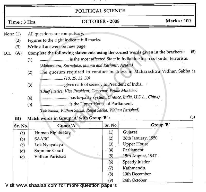 Question Paper - Political Science 2008 - 2009 - H.S.C - 12th Board Exam - Maharashtra State Board (MSBSHSE)