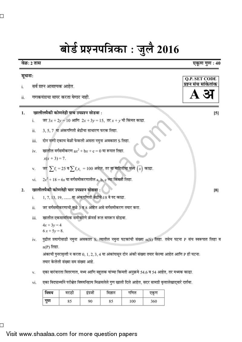 Algebra 2015-2016 - S.S.C - Board Exam - Maharashtra State Board (MSBSHSE) question paper with PDF download