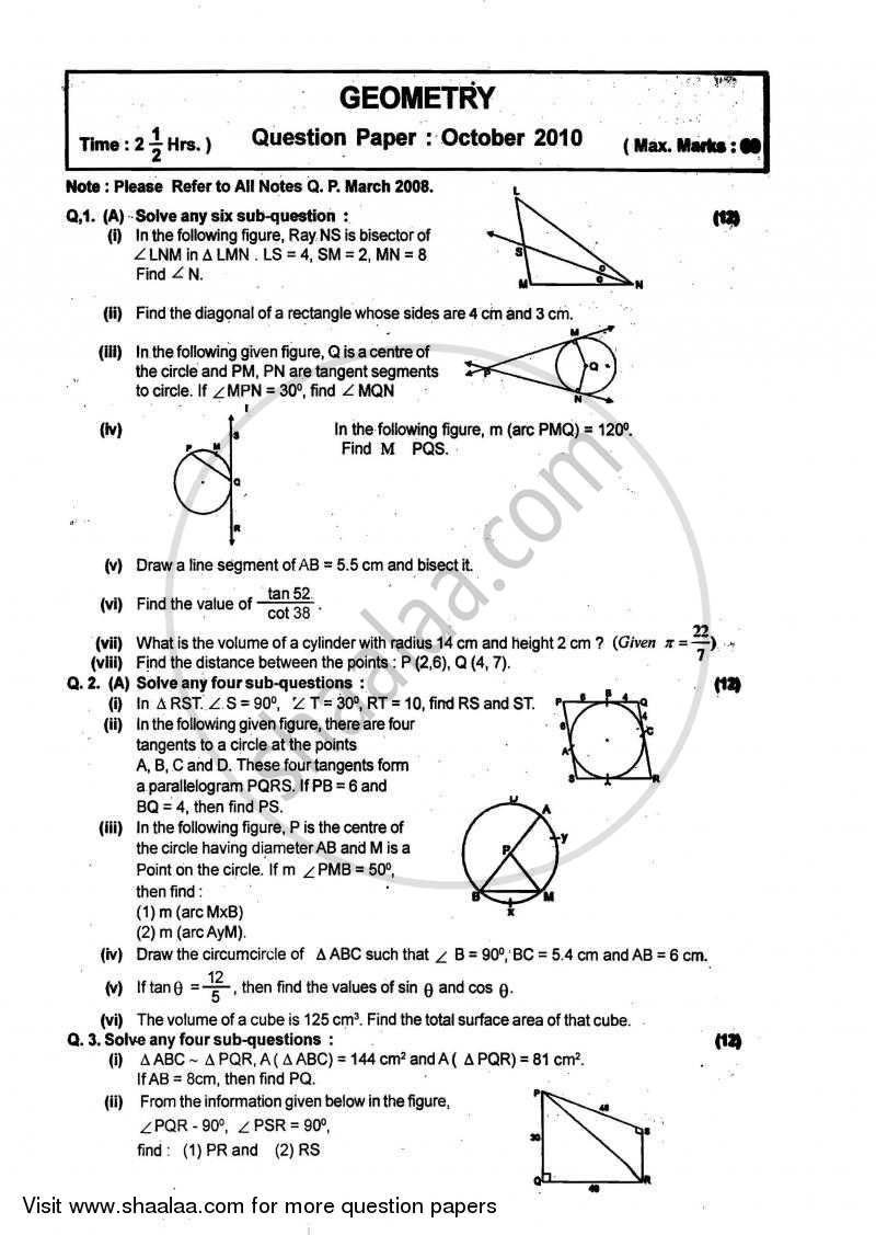 Geometry 2009-2010 - S.S.C - 10th - Maharashtra State Board (MSBSHSE) question paper with PDF download