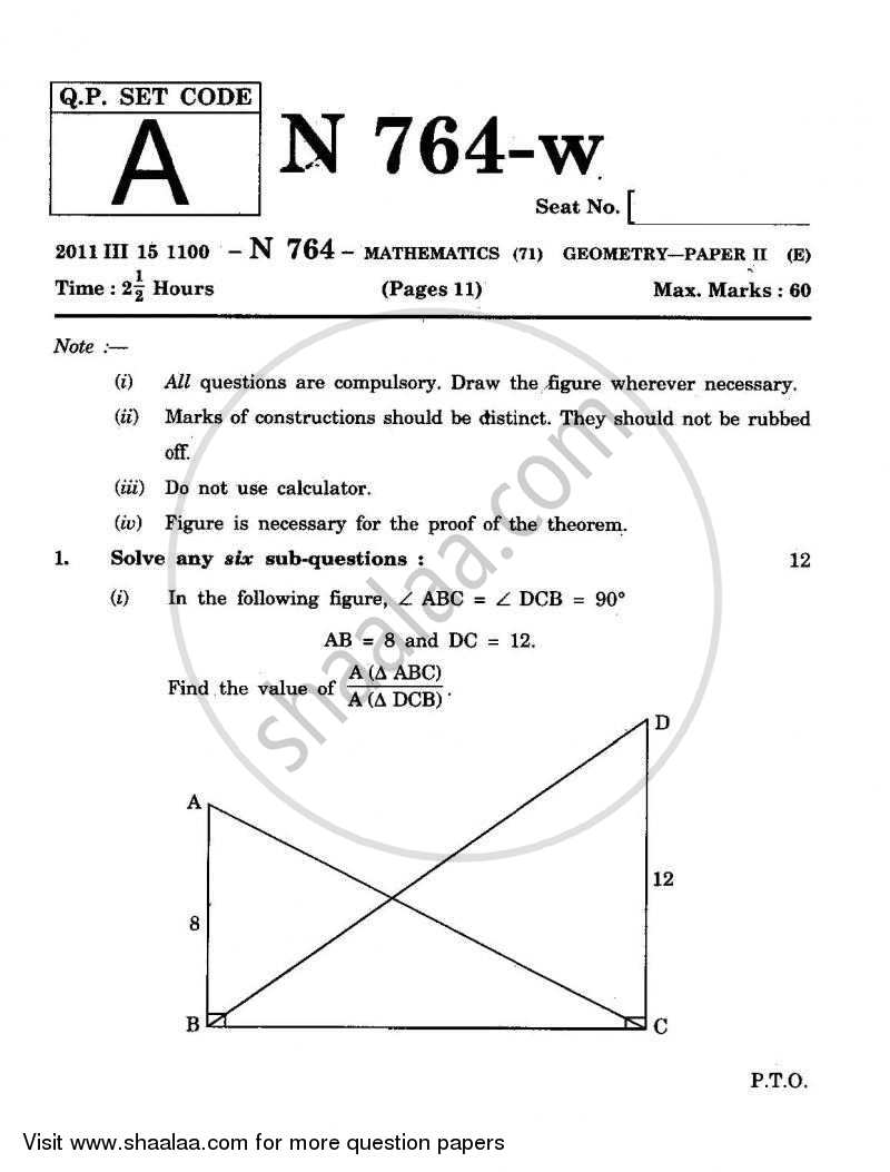 Question Paper - Geometry 2010 - 2011 - S.S.C - Board Exam - Maharashtra State Board (MSBSHSE)