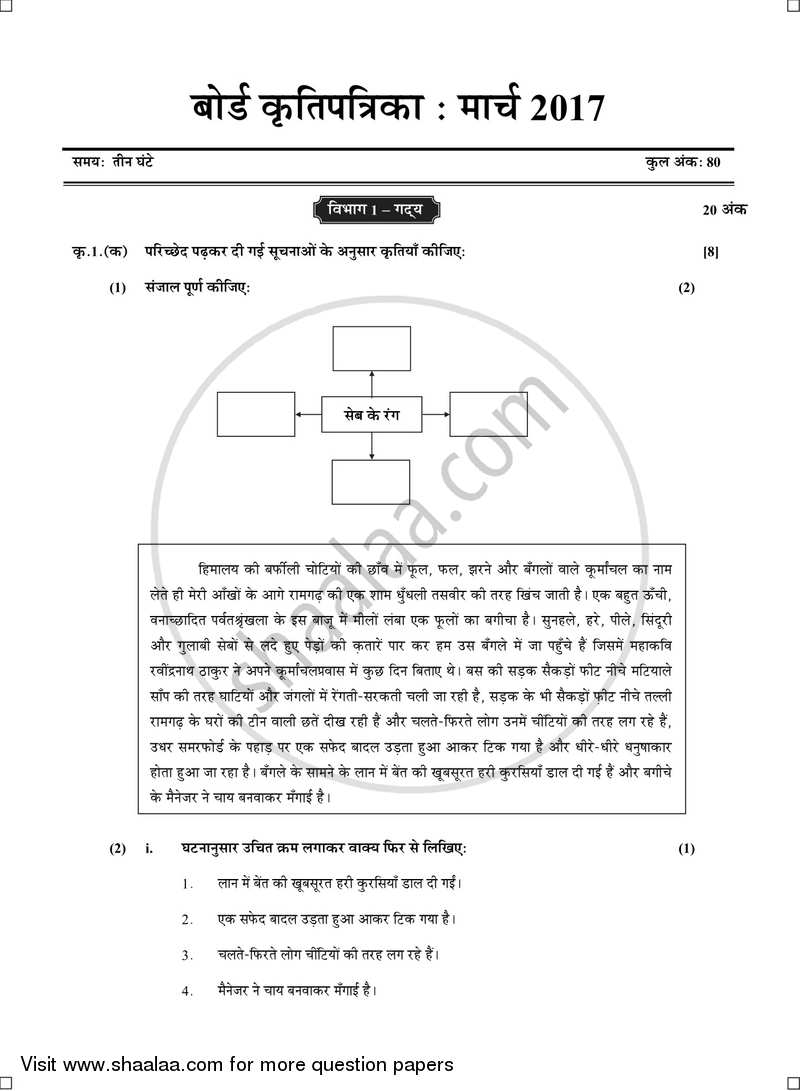 Question Paper - Hindi 2016 - 2017 - S.S.C - Board Exam - Maharashtra State Board (MSBSHSE)