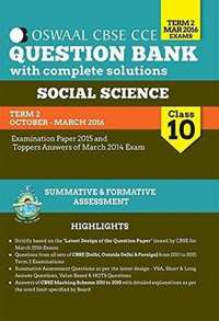 Oswaal CBSE CCE Question Banks With Complete Solution For Class 10 Term-II (October To March 2016) Social Science - Shaalaa.com