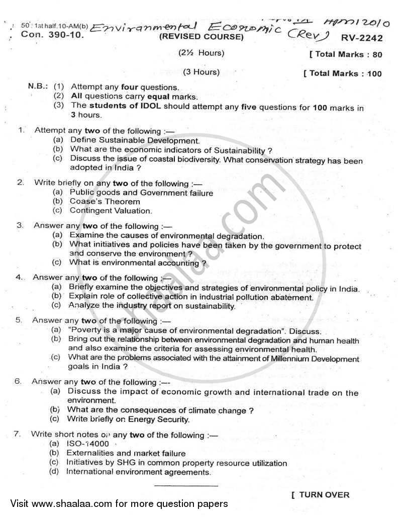 Environmental Economics 2009-2010 - B.A. - Semester 6 (TYBA) - University of Mumbai question paper with PDF download
