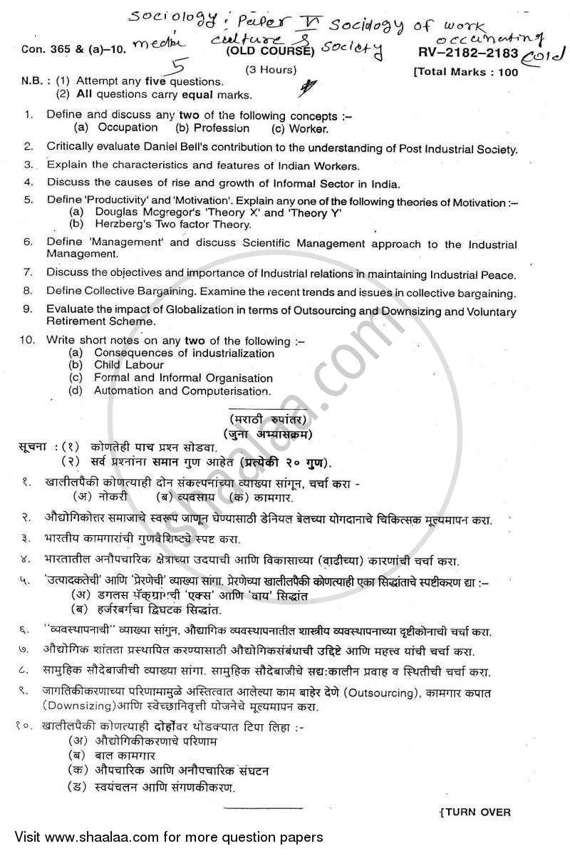 Sociology of Work 2009-2010 - B.A. - Semester 5 (TYBA) - University of Mumbai question paper with PDF download