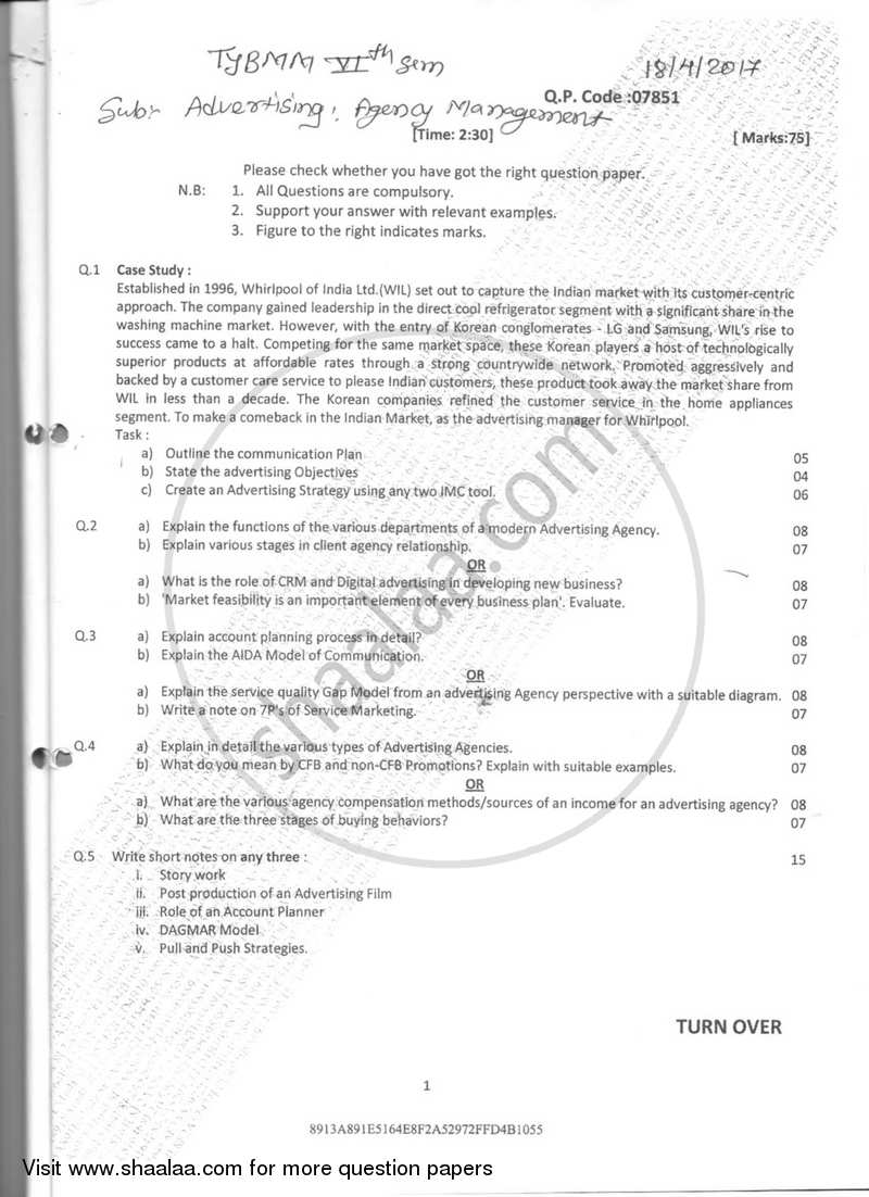 Agency Management 2016-2017 Semester 6 - University of Mumbai question paper with PDF download