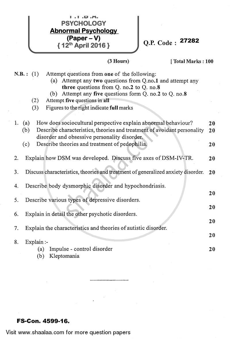 Question Paper - Abnormal Psychology 2015-2016 - B.A. - 3rd Year (TYBA) - University of Mumbai with PDF download