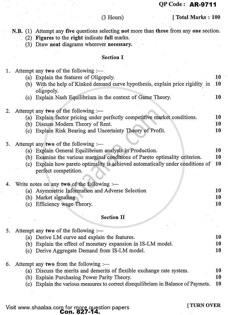 Question Paper - Advanced Economic Theory 2013 - 2014 - B.A. - Semester 5 (TYBA) - University of Mumbai