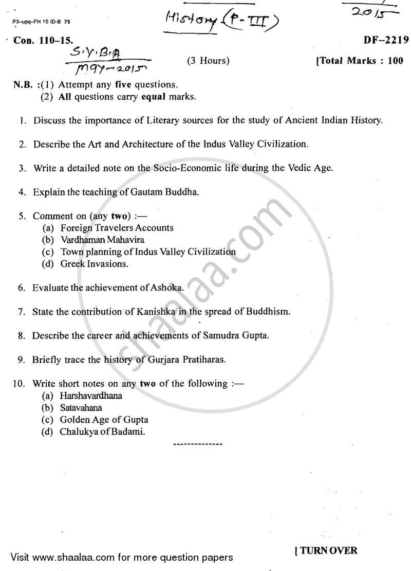 Question Paper - Ancient India (Up to 1000 Ad) 2014 - 2015 - B.A. - 2nd Year (SYBA) - University of Mumbai