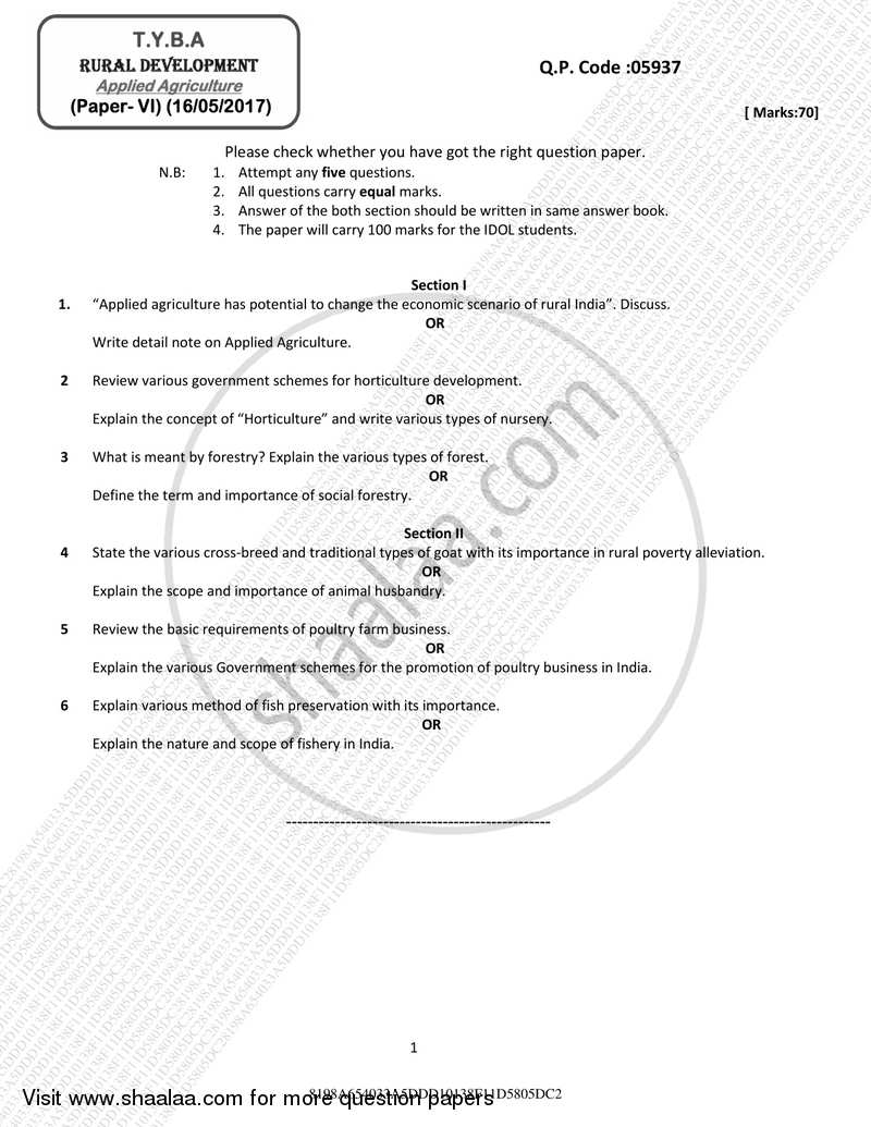 Question Paper - Applied Agriculture 2016 - 2017 - B.A. - 3rd Year (TYBA) - University of Mumbai