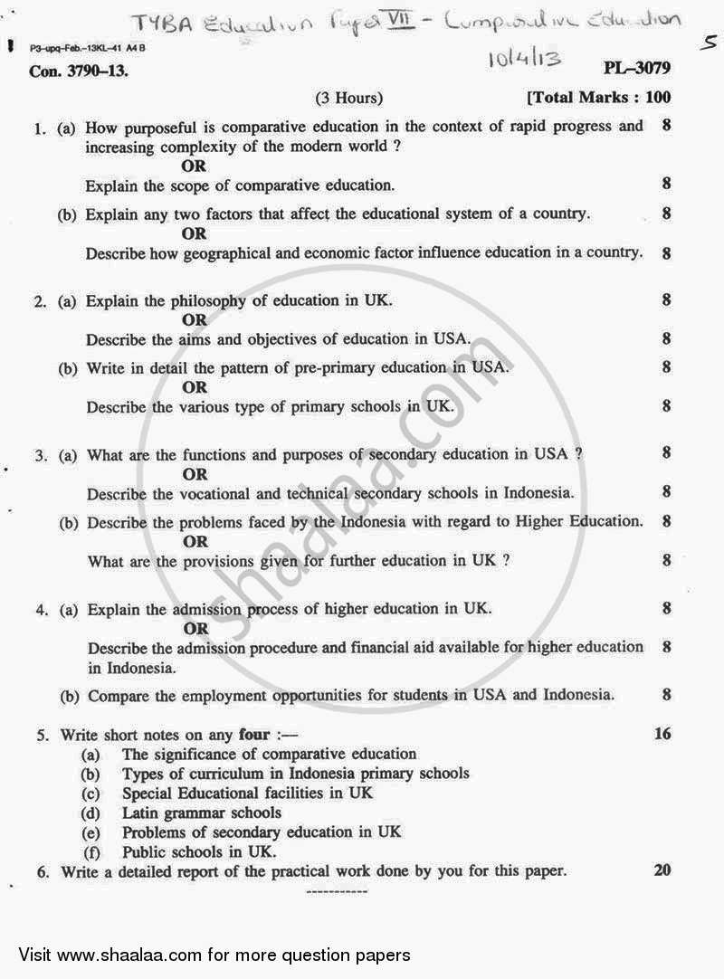 Question Paper - Comparative Education 2012 - 2013 - B.A. - 3rd Year (TYBA) - University of Mumbai