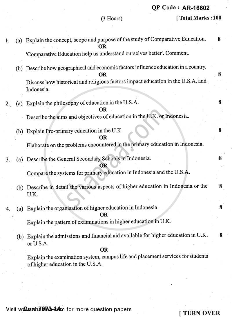 Question Paper - Comparative Education 2013 - 2014 - B.A. - 3rd Year (TYBA) - University of Mumbai