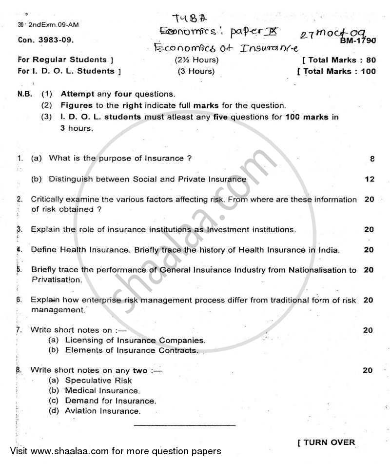 Question Paper - Economics of Insurance 2009 - 2010 - B.A. - Semester 6 (TYBA) - University of Mumbai