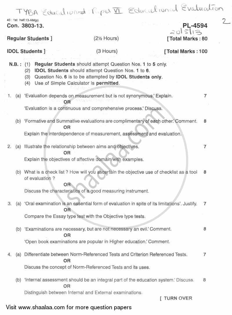 Educational Evaluation 2012-2013 - B.A. - 3rd Year (TYBA) - University of Mumbai question paper with PDF download