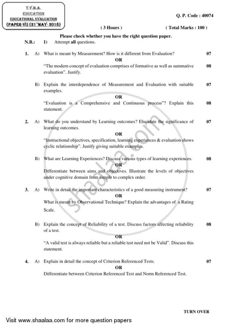 Educational Evaluation 2017-2018 - B.A. - 3rd Year (TYBA) - University of Mumbai question paper with PDF download