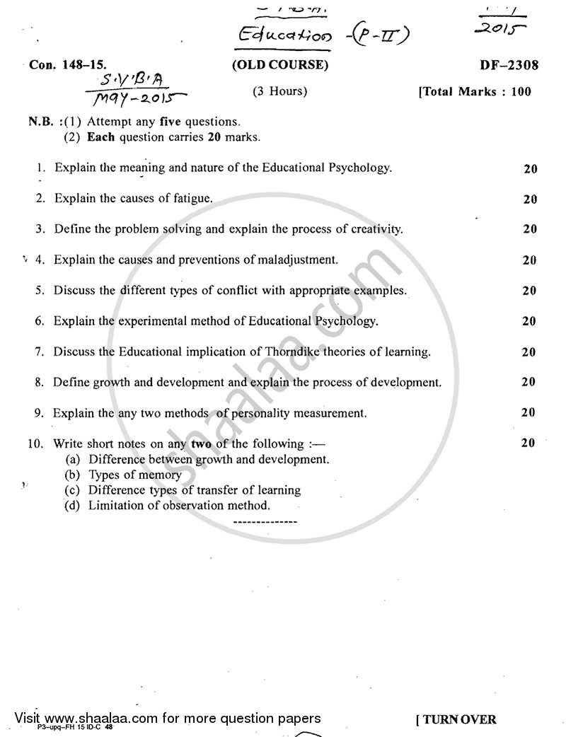 Question Paper - Educational Psychology 2014 - 2015-B.A.-2nd Year (SYBA) University of Mumbai