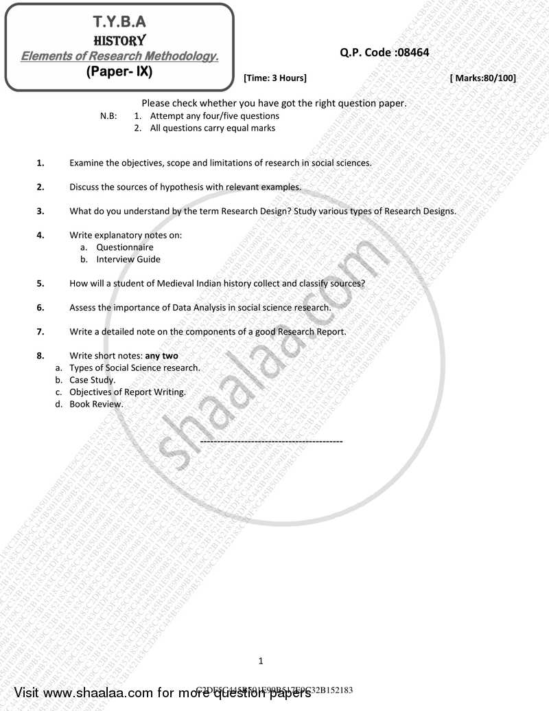 Question Paper - Elements of Research Methodology 2016 - 2017 - B.A. - 3rd Year (TYBA) - University of Mumbai