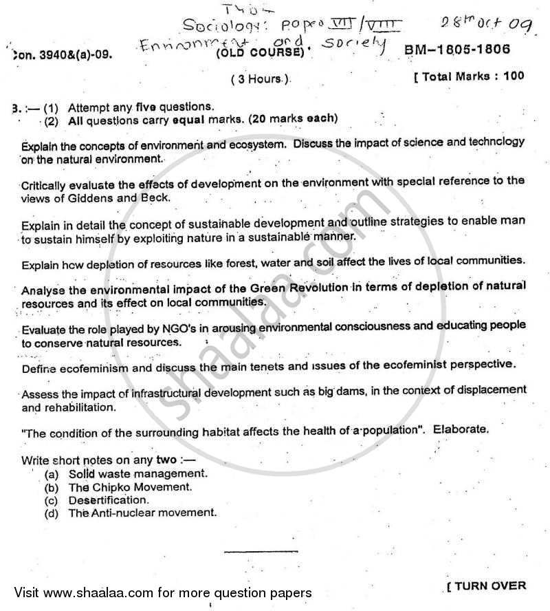 Question Paper - Environment and Society 2009 - 2010 - B.A. - Semester 6 (TYBA) - University of Mumbai