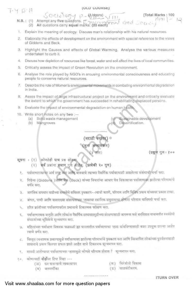 Question Paper - Environment and Society 2011 - 2012 - B.A. - Semester 6 (TYBA) - University of Mumbai