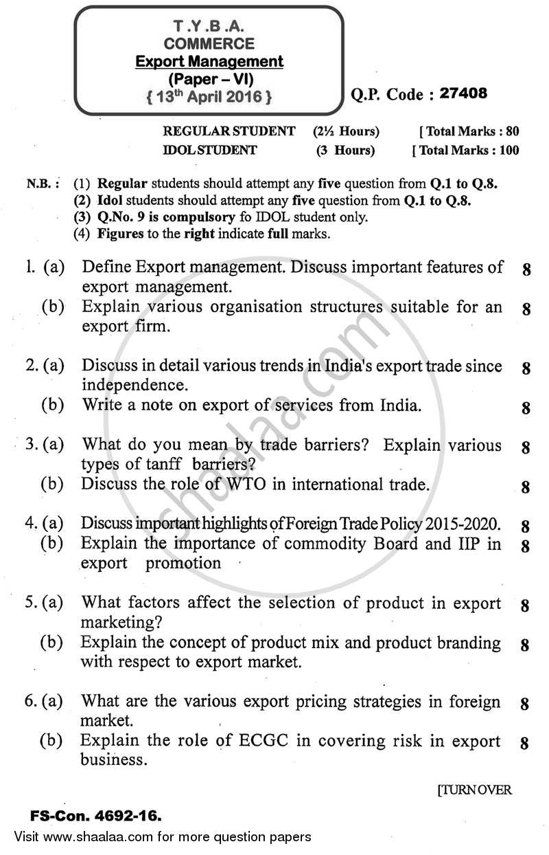 Question Paper - Export Management 2015 - 2016 - B.A. - 3rd Year (TYBA) - University of Mumbai