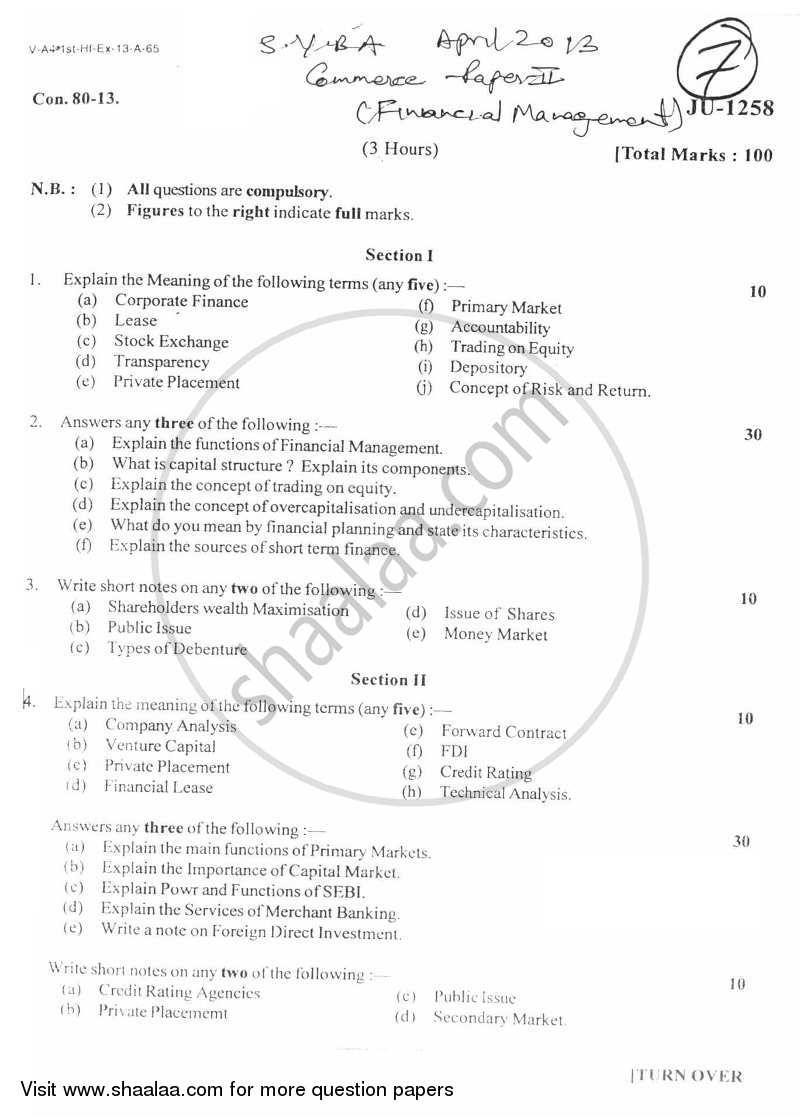 Question Paper - Financial Management 2012 - 2013 - B.A. - 2nd Year (SYBA) - University of Mumbai