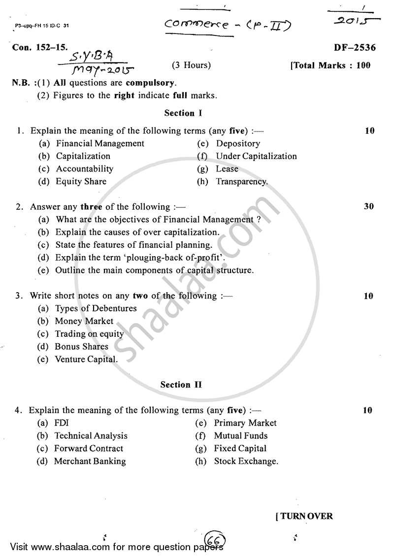 Question Paper - Financial Management 2014 - 2015 - B.A. - 2nd Year (SYBA) - University of Mumbai
