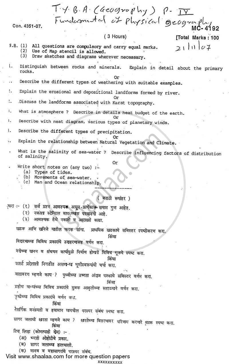 Question Paper - Fundamentals of Physical Geography 2007 - 2008 - B.A. - Semester 6 (TYBA) - University of Mumbai