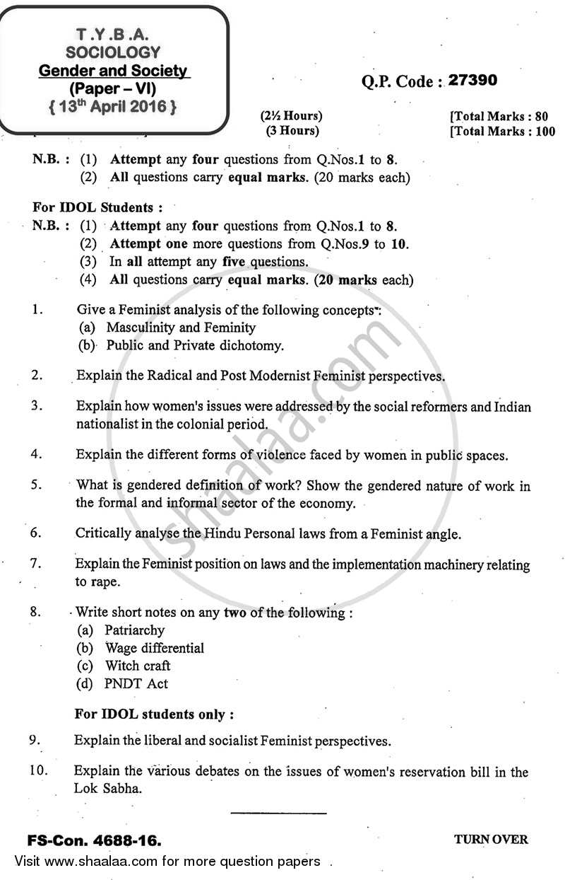 Question Paper - Gender and Society 2015 - 2016 - B.A. - 3rd Year (TYBA) - University of Mumbai