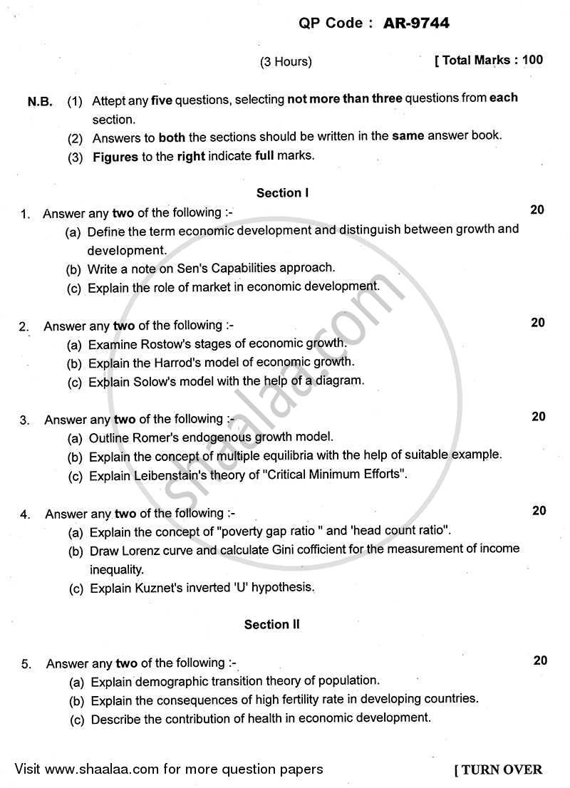 Question Paper - Growth and Development 2013 - 2014-B.A.-3rd Year (TYBA) University of Mumbai