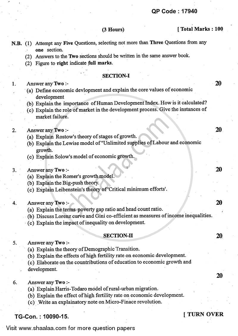 Question Paper - Growth and Development 2014 - 2015 - B.A. - 3rd Year (TYBA) - University of Mumbai