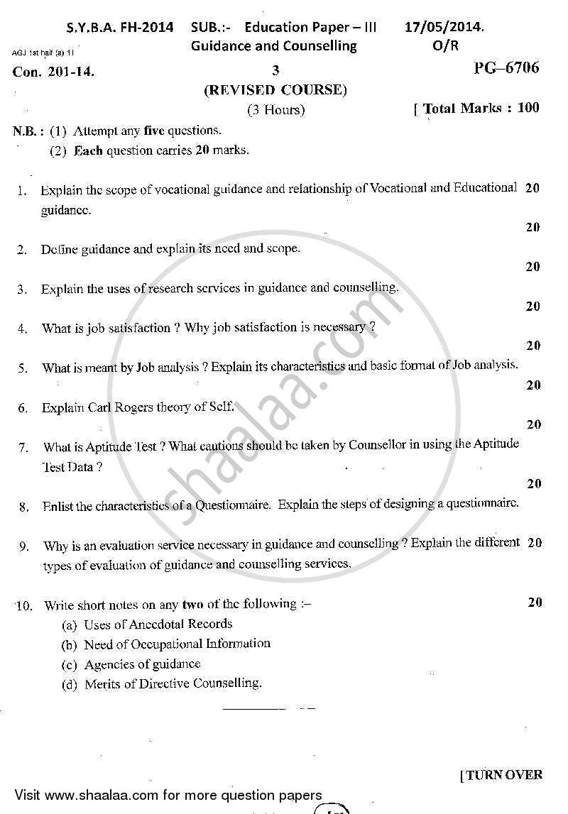 Question Paper - Guidance and Counselling 2013 - 2014 - B.A. - 2nd Year (SYBA) - University of Mumbai