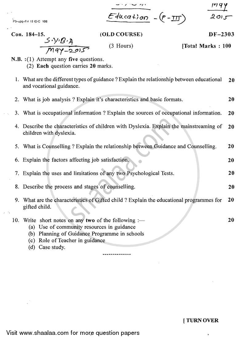Question Paper - Guidance and Counselling 2014 - 2015 - B.A. - 2nd Year (SYBA) - University of Mumbai