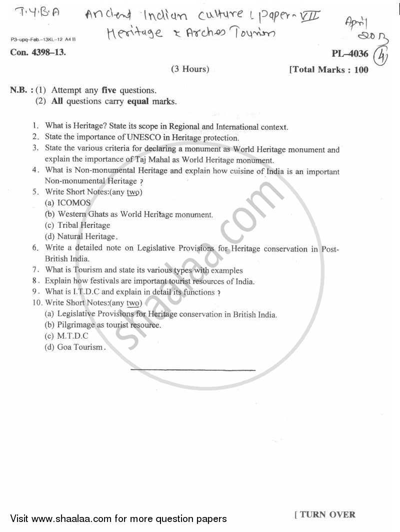 Question Paper - Heritage Tourism 2012 - 2013 - B.A. - Semester 6 (TYBA) - University of Mumbai