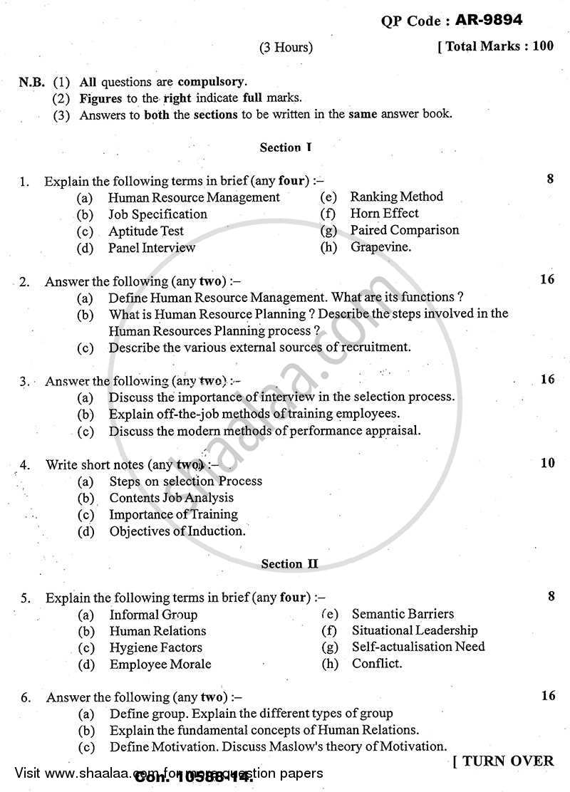 Question Paper - Human Resource Management 2013 - 2014 - B.A. - 3rd Year (TYBA) - University of Mumbai