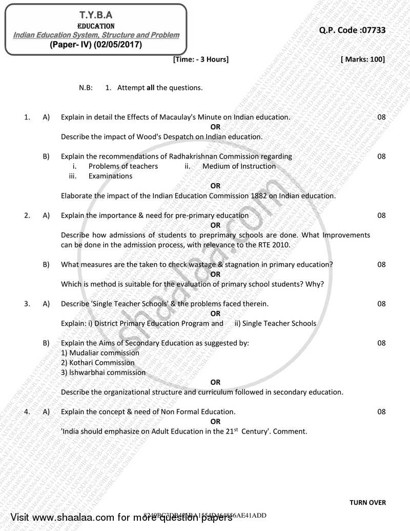 Question Paper - Indian Education System, Structure and Problem 2016 - 2017 - B.A. - 3rd Year (TYBA) - University of Mumbai