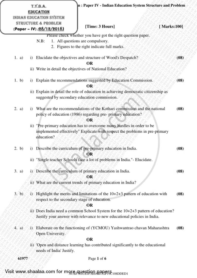 Indian Education System, Structure and Problem 2018-2019 - B.A. - 3rd Year (TYBA) - University of Mumbai question paper with PDF download