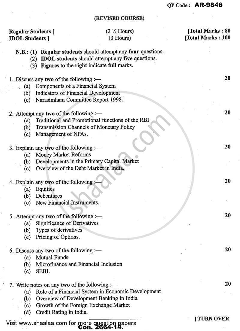 Question Paper - Indian Financial System 2013 - 2014-B.A.-Semester 6 (TYBA) University of Mumbai