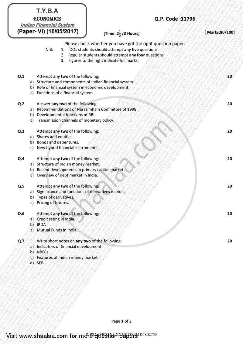 Question Paper - Indian Financial System 2016 - 2017 - B.A. - 3rd Year (TYBA) - University of Mumbai